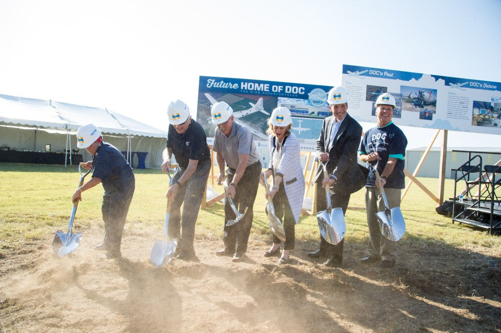 B-29 Doc hangar groundbreaking event in Wichita. Pictured, L-R- Connie Palacioz, Tony Mazzolini, Jeff Turner, Leanne Caret, Tom Gentile and Pete Meitzner.