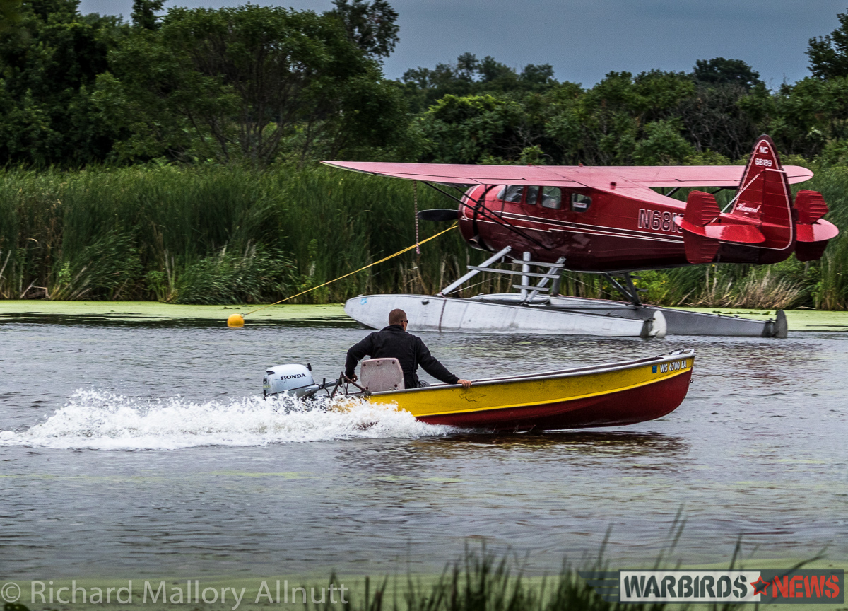 The Seaplane Base on Lake Winnebago was a hive of activity, and included many rare visitors aside from the Martin Mars, which included this gorgeous little Howard on floats. (photo by Richard Mallory Allnutt)