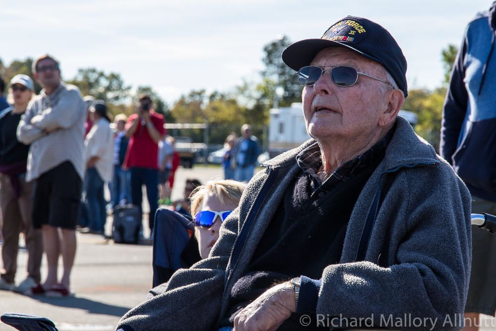 Why we do this... a 12th Air Force WWII B-25 pilot watches in great appreciation at the Culpeper Airfest. (photo by Richard Mallory Allnutt)