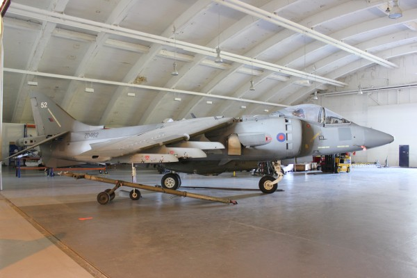 The BAe Harrier GR.7 ZD462 that was on display at Dyson's UK headquarters at Malmesbury, Wiltshire has now been removed in to storage at C2 Aviation at Cotswold airport pending planning approval for their display at Malmesbury. (Image credit Geoff Jones)