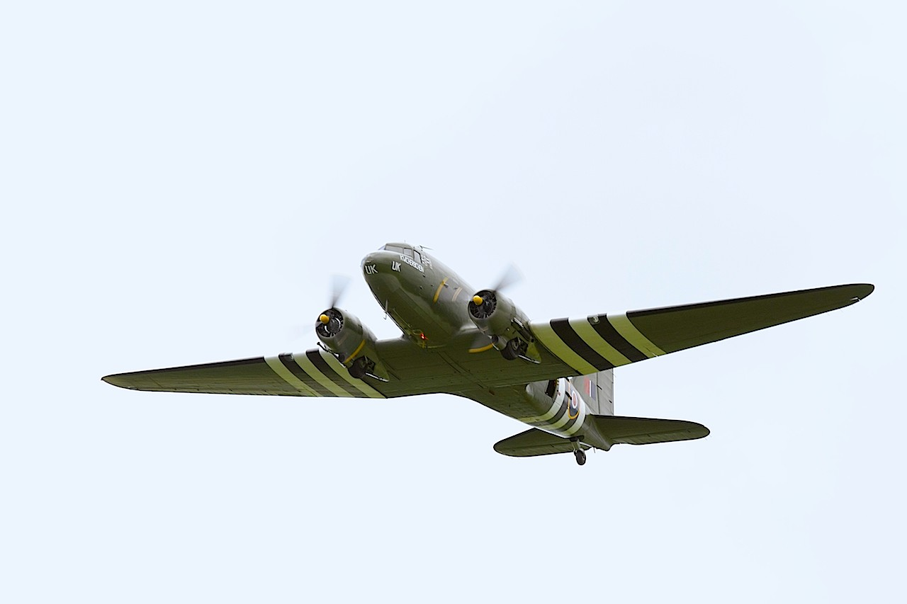Douglas C-47 Dakota Mk III, FZ692, was built by Douglas in the United States in 1943 and was delivered to the RAF in February 1944. The aircraft served with 233 Squadron at RAF Blakehill Farm until September 1944 when it was transferred to 437 Squadron RCAF. '©Trustees of the Royal Air Force Museum'