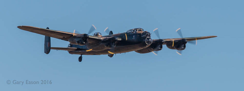 The sole airworthy Avro Lancaster bomber flying in the UK, PA474, aka City of Lincoln, operated by the Battle of Britain Memorial Flight, seen here during the 2016 display season at Duxford airshow. PA474 is painted to represent Thumper III, an aircraft that served with No 617 Squadron after the Dams Raid.