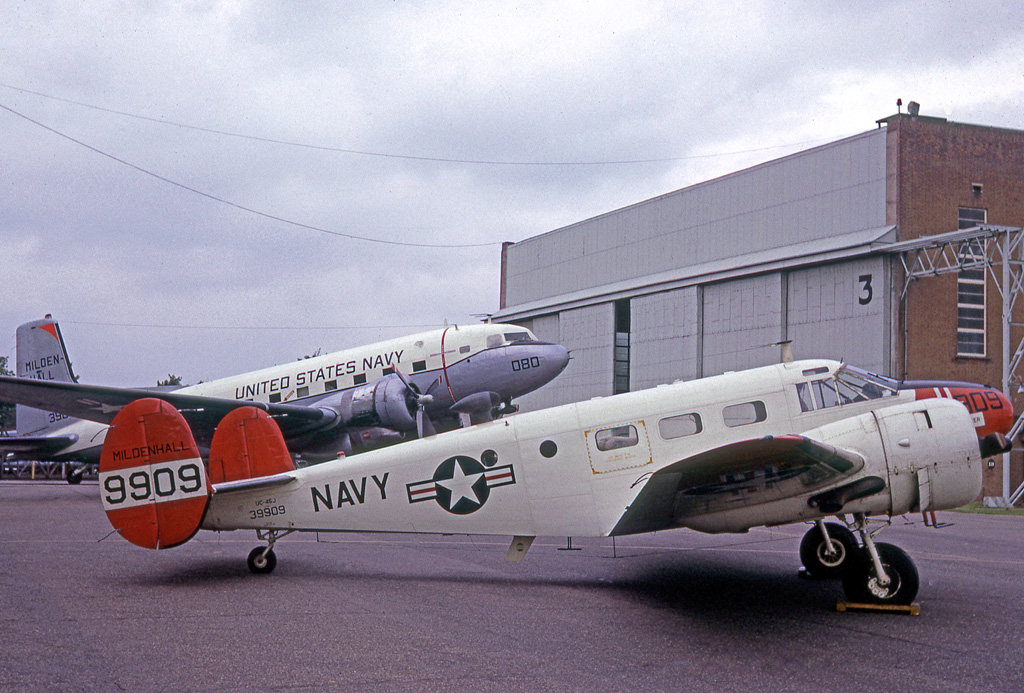 Locally based UC-45J Expeditor and a C-117D at RAF Mildenhall in May, 1966. (photo via Wikipedia)