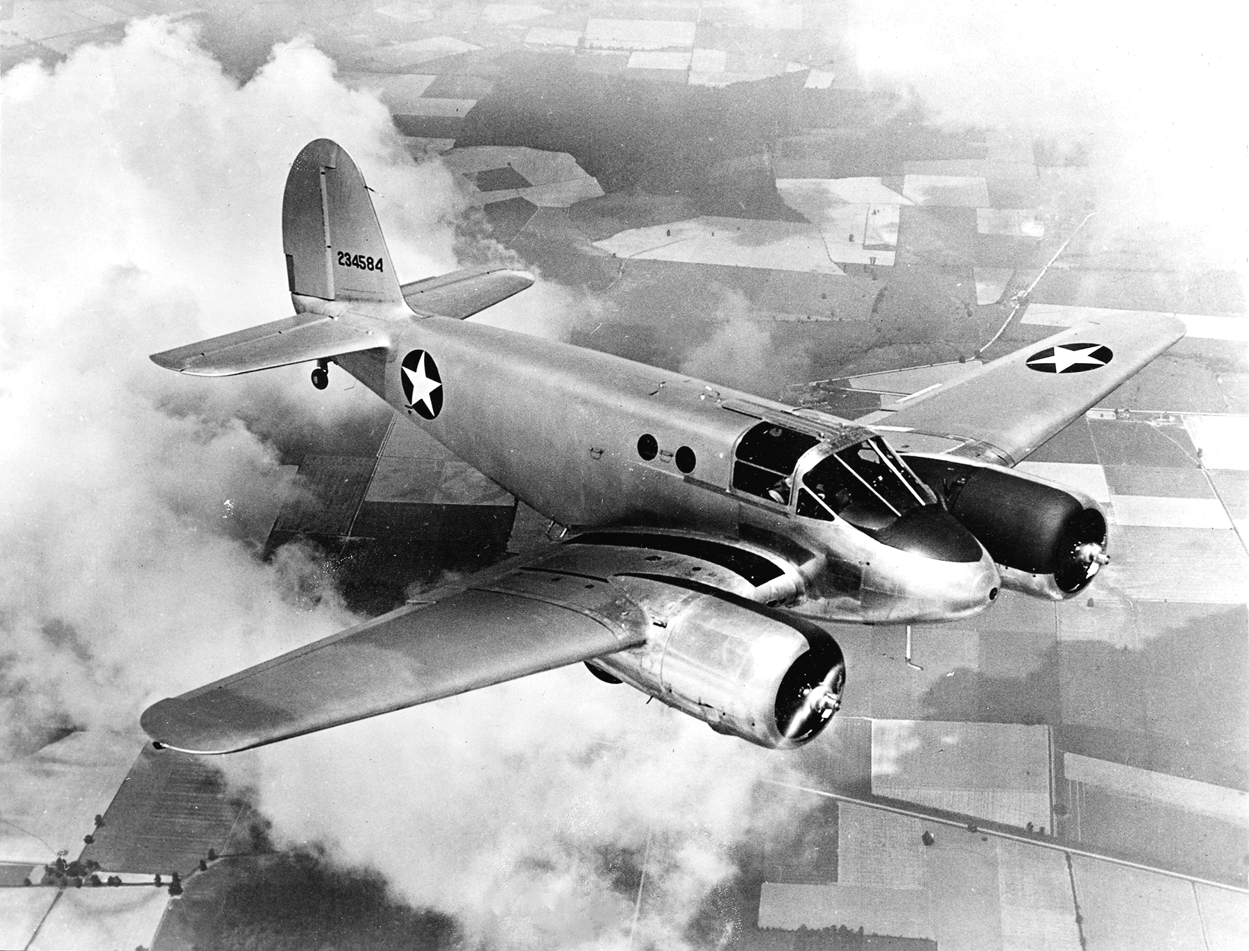 A Beechcraft AT-10 Wichita in flight during WWII. (photo via Wikipedia)