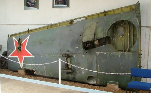 "One of the ""spare"" P-63 King Cobra wings on display at the Wings Museum UK. The Red Star is original. (Image courtesy of Aaron Simmons)"