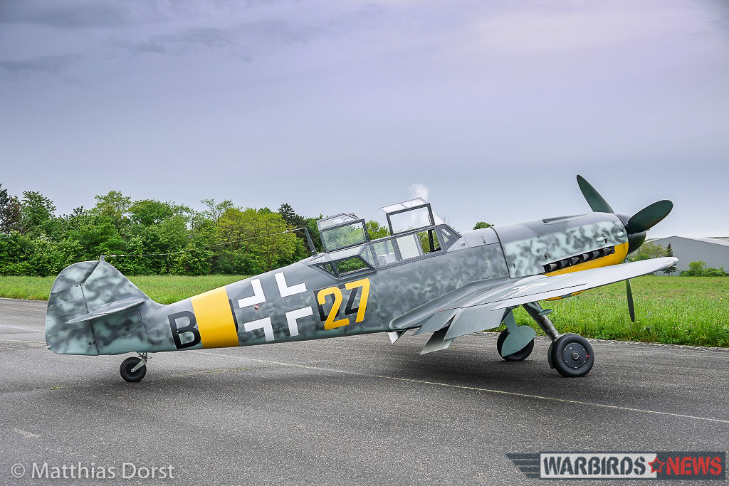 The newly-rolled out 'Bf-109 G-12' sitting on the tarmac with her two canopies open. (photo by Matthias Dorst via Klassiker der Luftfahrt)