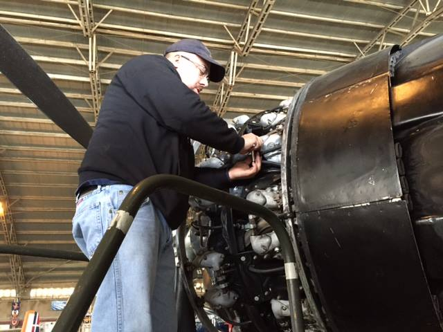 Bill Gorin working on one of the Invader's P&W R-2800 engines. (photo via CAD A-26 Invader Squadron)