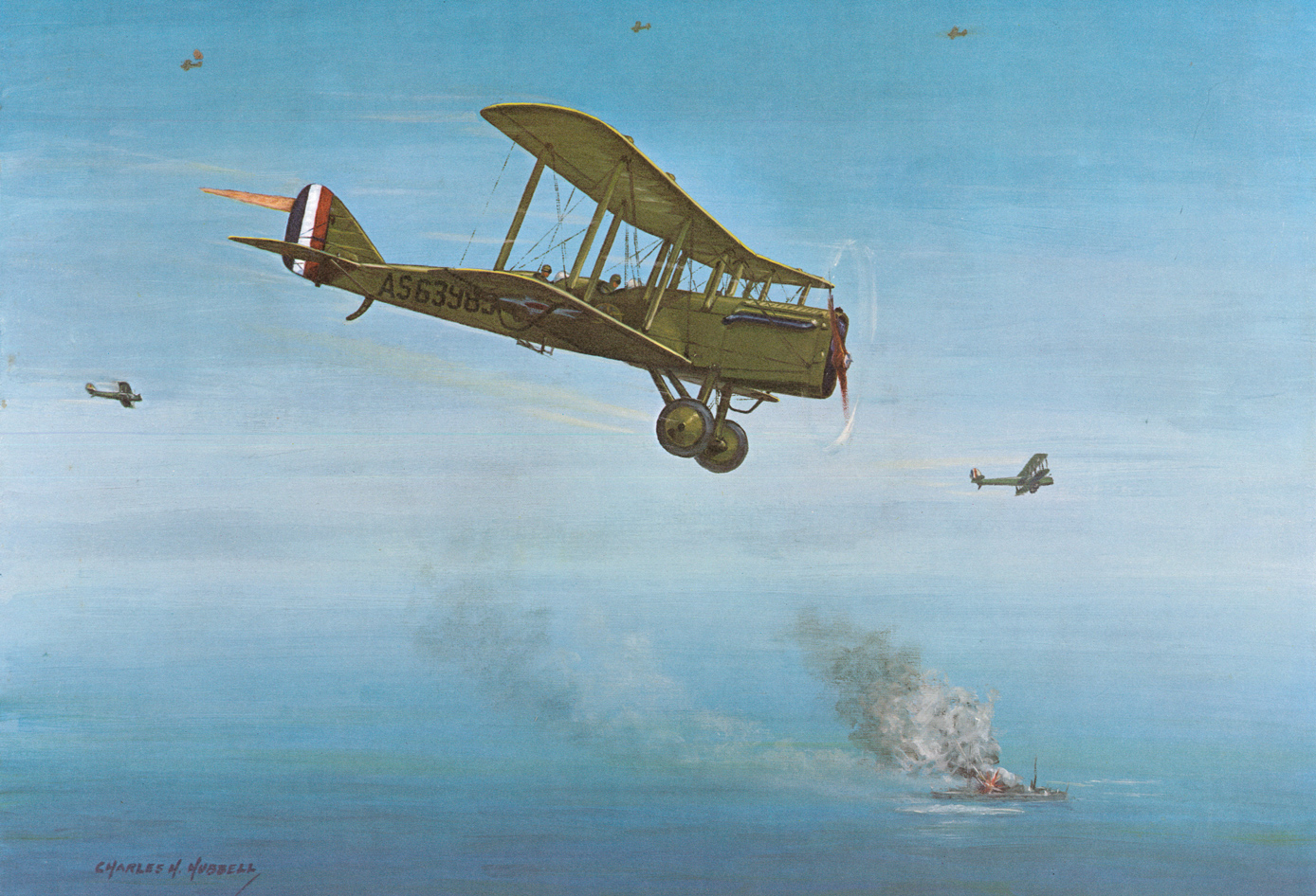 A Charles Hubbell painting of Billy Mitchell's famous moment sinking the German war prize battleships in a demonstration of Strategic Air Power... a heroic act for which he was court martialled! (image via SAC Museum)