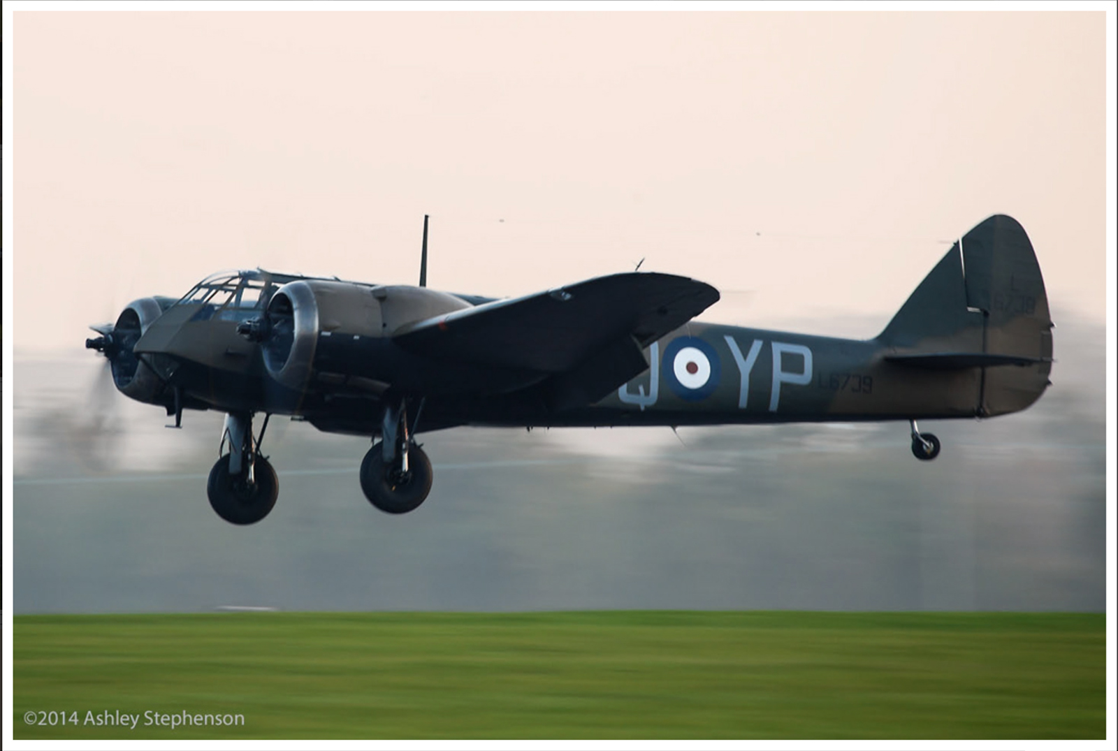 John Romain at the controls of Blenheim Mk.I L6739 as she takes off on her first post-restoration flight on November 20th. (photo by Ashley Stephenson via Global Aviation Resource)