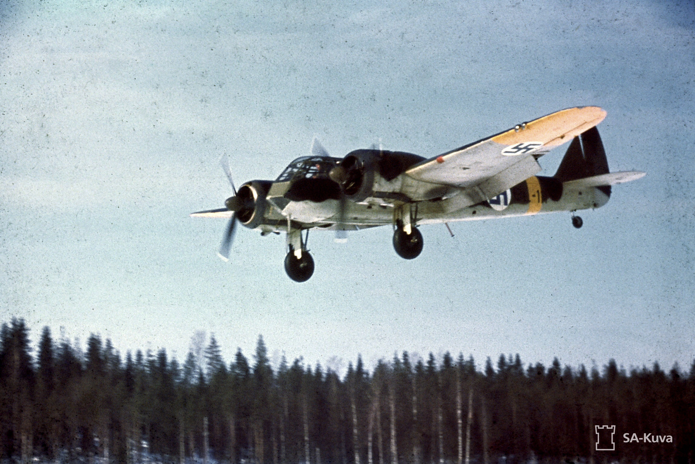 A rare color image of a Finnish Air Force Blenheim Mk.I coming in for a landing on Luonetjärvi Airfield, March 1944. (photo via Wikipedia)