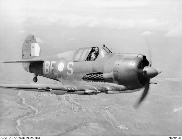 "Mareeba, Qld. 1944-03-15. ""White Feller's Boomerang"" in flight. An Australian-built CAC Boomerang fighter aircraft coded BF-S (serial no. A46-126) nicknamed ""Sinbad II"" of No. 5 (Tactical Reconnaissance) Squadron RAAF, piloted by 402769 Flight Lieutenant A. W. B. Clare of Newcastle, NSW. (photo via wikipedia)"