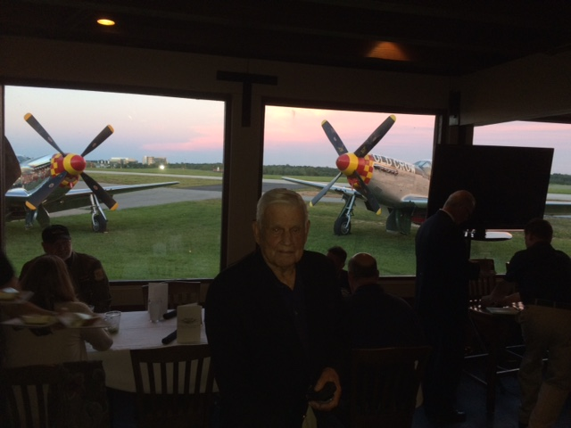 "Bud Anderson was the guest of honor at the 'Dinnners With Aces"" organized at the 57th Fighter Group Restaurant owned by GA Aviation HAll of Fame Patt Epps."