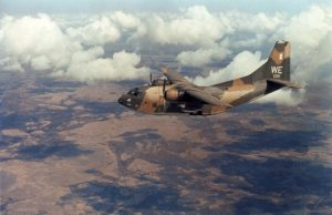 A Fairchild C-123K Provider (s/n 54-0696) of the 19th Air Commando Squadron, 315th Air Commando Wing, on a paratrooper dropping mission over the Mekong Delta, South Vietnam, on 27 March 1969. This aircraft was turned over to the South Vietnamese Air Force (VNAF) in 1972. ( Image credit U.S. Air Force)