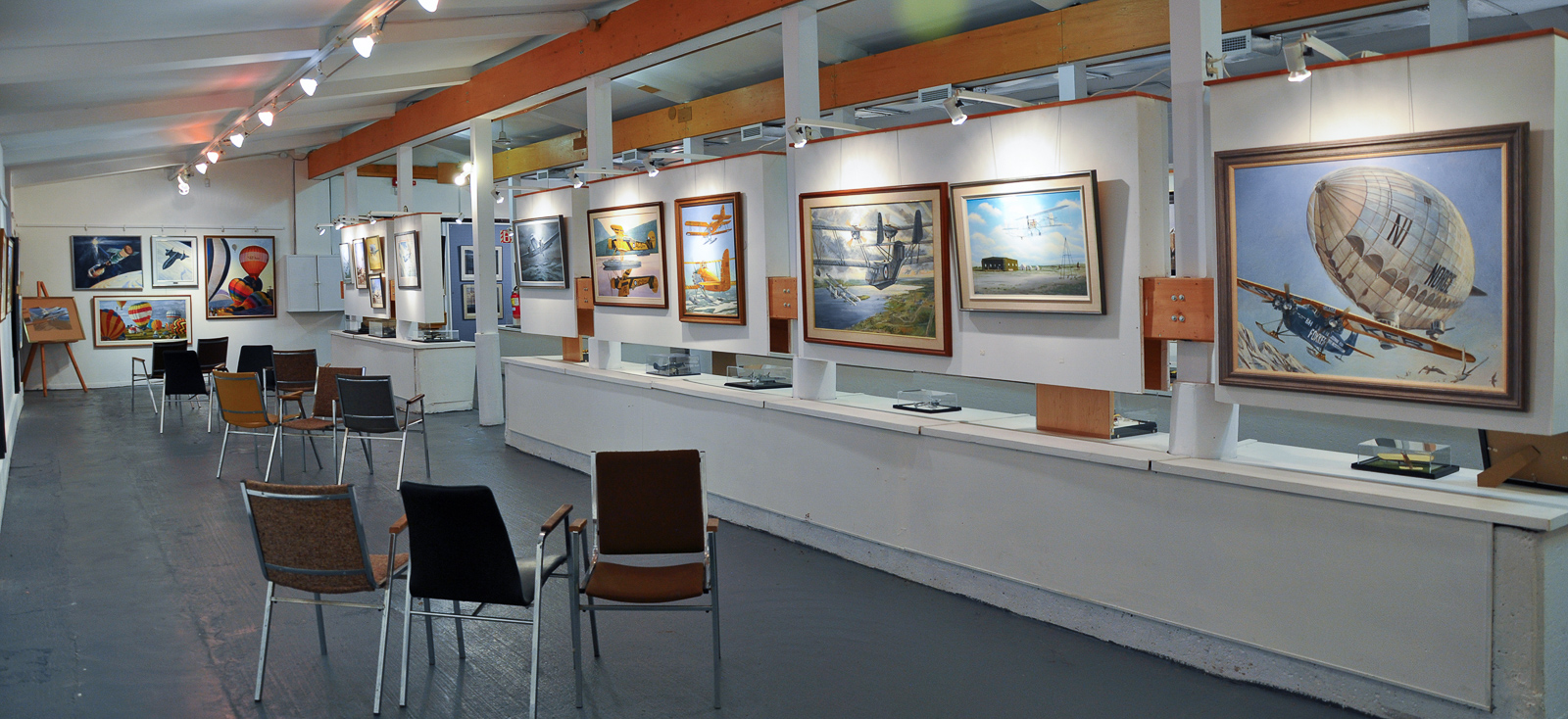 One of the galleries featuring some of the museum's marvelous collection of aviation art. (photo Robert St.Pierre)