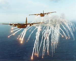 RAF C-130Ks drop flares (Image Credit: Royal Air Force)