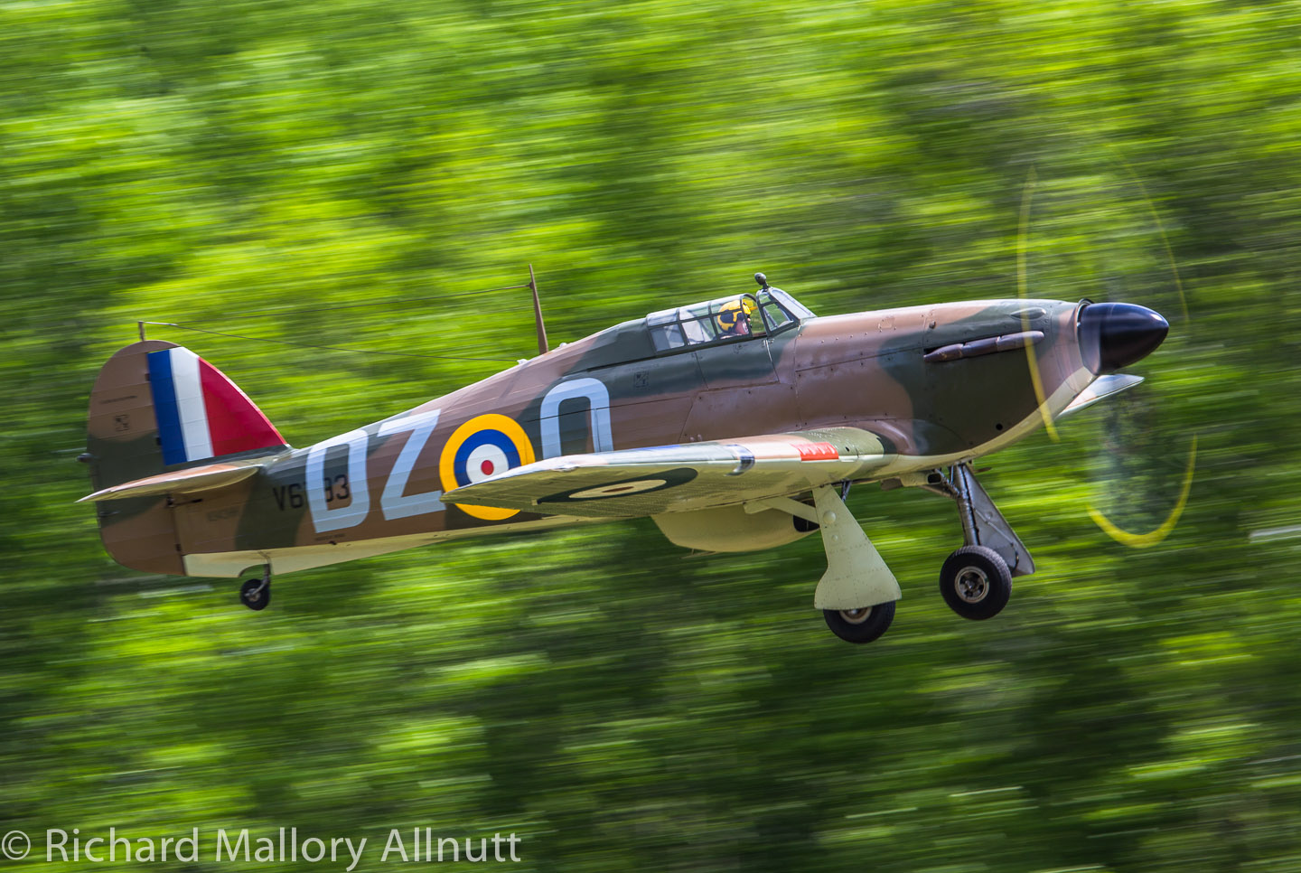 The Military Aviation Museum's Hawker Hurricane takes flight at the 2014 Warbirds Over the Beach air show. (photo by Richard Mallory Allnutt)