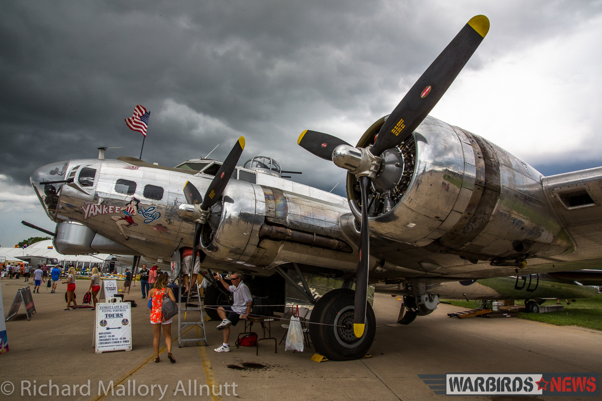 The EAA's B-17G Aluminum Overcast, just before the big storm on Wednesday. (photo by Richard Mallory Allnutt)