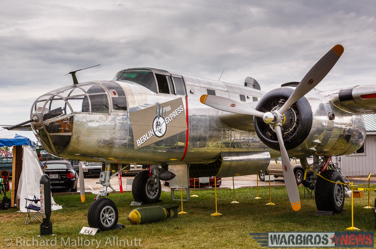 The EAA Museum's B-25J Mitchell Berlin Express as she looked at AirVenture 2016. (photo by Richard Mallory Allnutt)