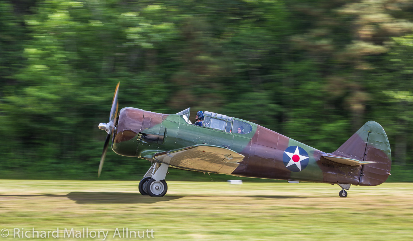 The P-64 taxiing in after making a couple of passes at Pungo. (photo by Richard Mallory Allnutt)