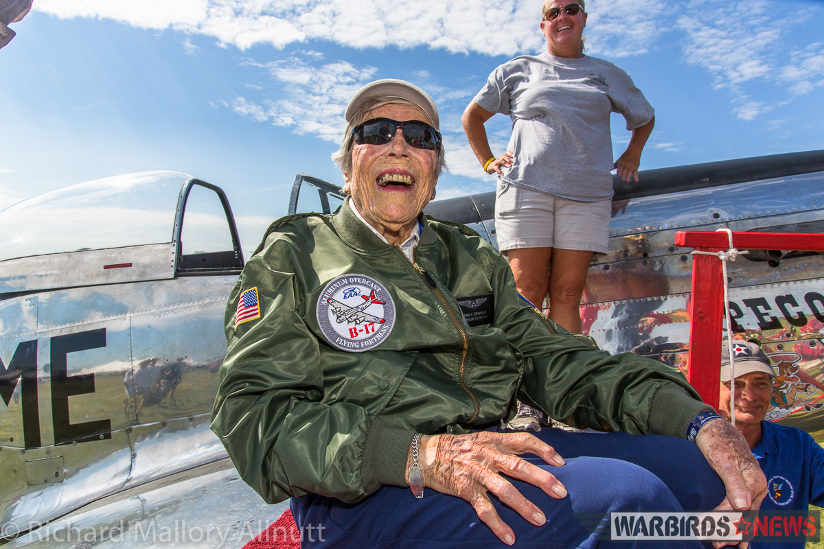 At 99, former WASP Dawn Seymour grins from ear to ear after a flight with Cowden Ward in his P-51D Mustang, Pecos Bill. (photo by Richard Mallory Allnutt)