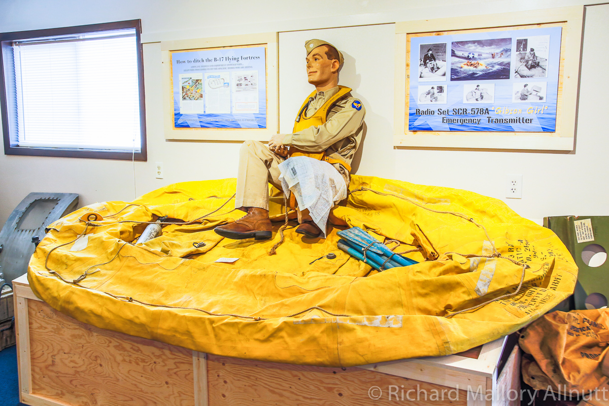 A life raft as used in a B-17 from Lacey Lady in the museum. (photo by Richard Mallory Allnutt)
