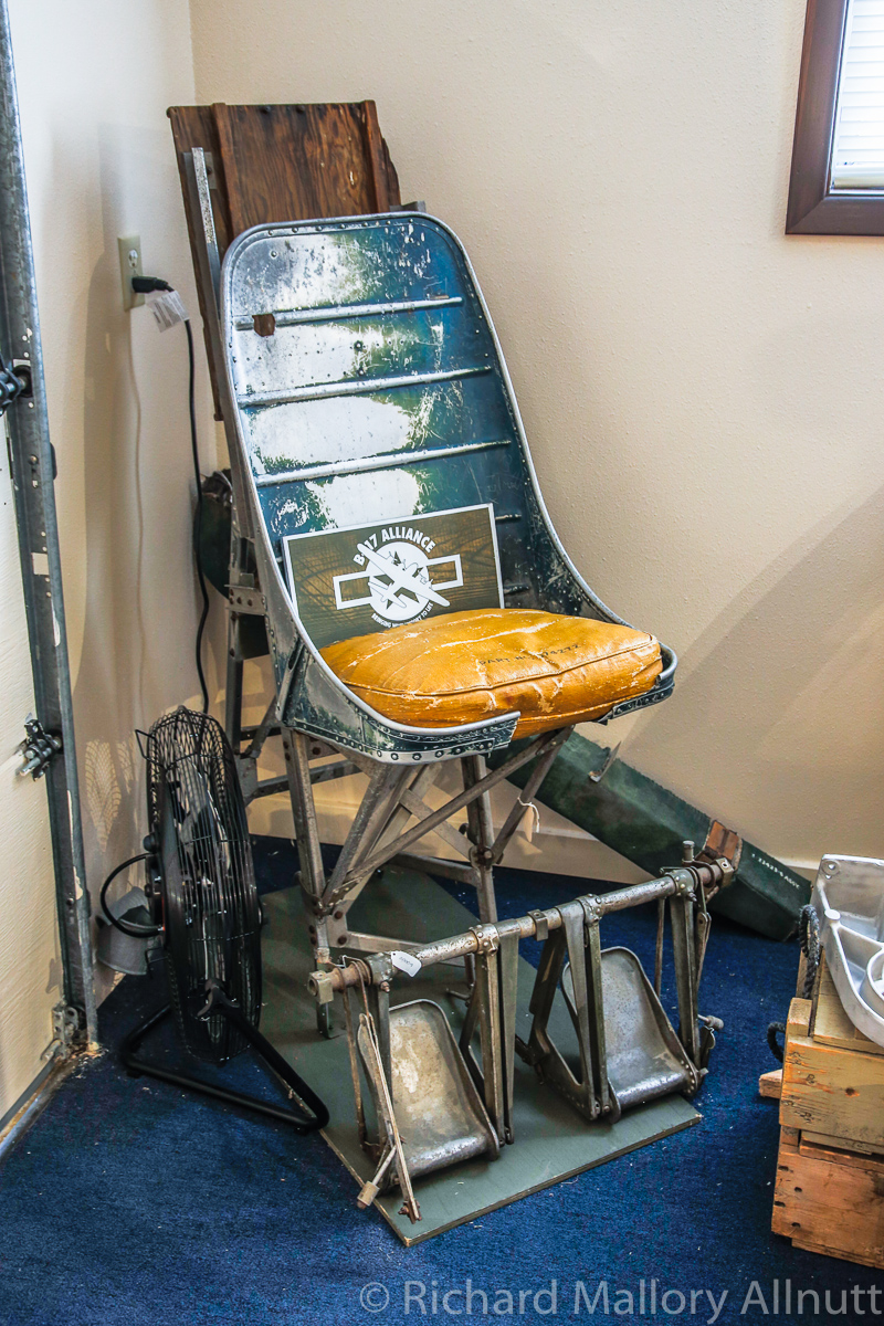 Pilot's seat from Lacey Lady in the museum. (photo by Richard Mallory Allnutt)