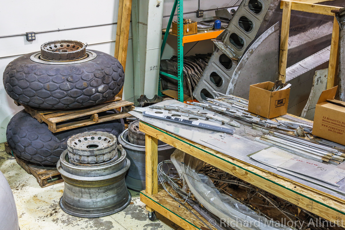 B-17 wheels and sundry components. (photo by Richard Mallory Allnutt)