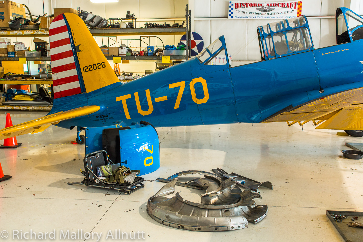 The BT-13's engine cowling and dishpan awaiting the return of the overhauled engine from Covington.  (photo by Richard Mallory Allnutt)