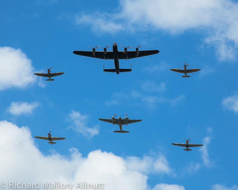 A similar formation to this flight at CWH's show in Hamilton, Ontario is expected at Warbirds Over the Beach in May. A Mosquito and a Lancaster formed up while flanked by a Spitfire and Hurricane will be an ultra-rare treat for any air show visitor. (photo by Richard Mallory Allnutt)