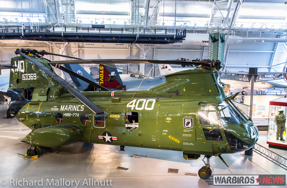 The National Museum of the US Marine Corps CH-46 on long term loan at the Udvar-Hazy Center. (photo by Richard Mallory Allnutt)