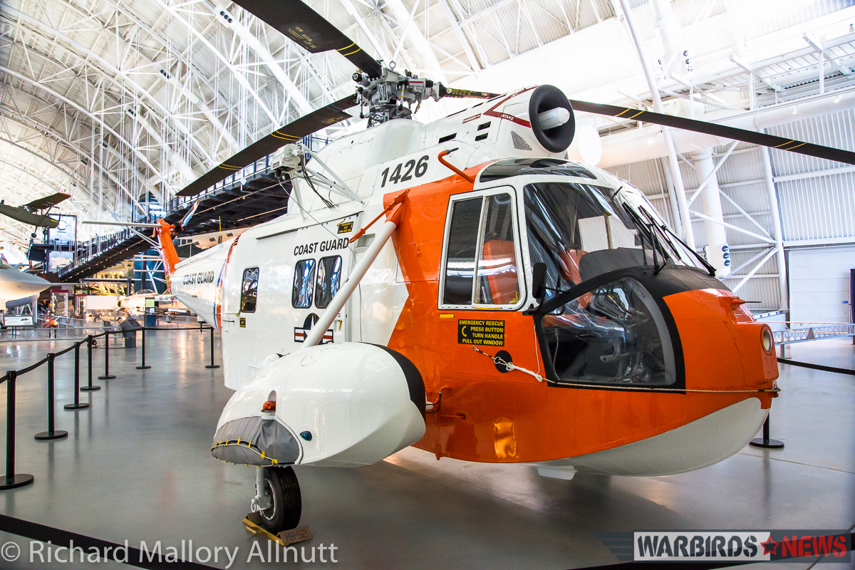 The museum's beautifully presented HH-52, faithfully restored at the Coast Guard's base in Elizabeth City, North Carolina, is temporarily located just behind the north hangar door. (photo by Richard Mallory Allnutt)