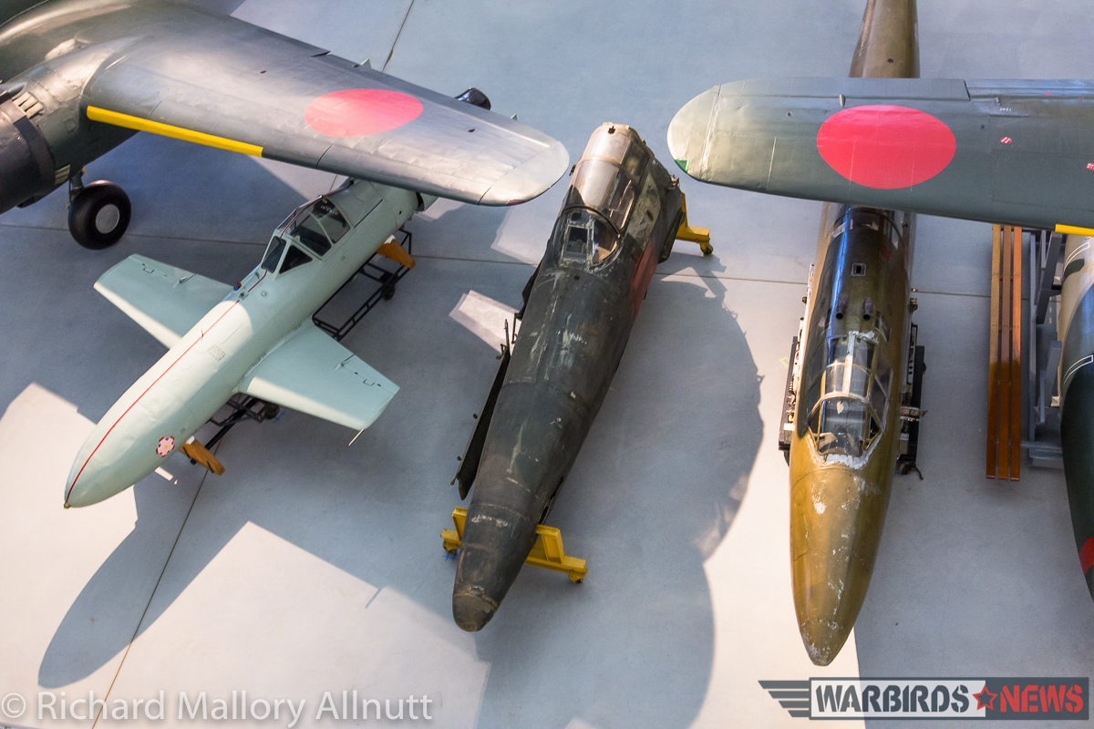 An interesting overhead view of the Shinden alongside other Japanese types at Udvar-Hazy. (photo by Richard Mallory Allnutt)