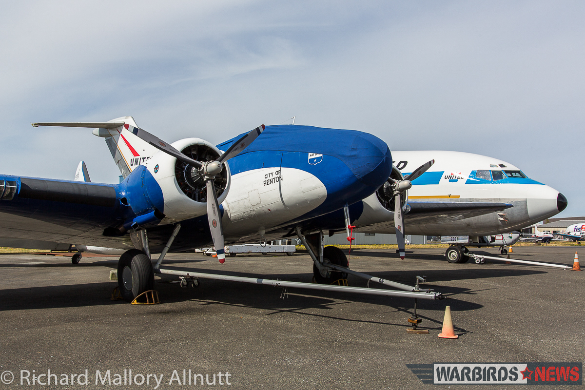 The Museum of Flight's Boeing 247D seen here in outside storage at Paine Field in August, 2015. The prototype Boeing 727 can be seen behind. As readers will remember, the 727 made her final flight just a few weeks ago. Both aircraft will now reside in the soon-to-be-opened Aviation Pavillion alongside the prototype Boeing 747 and other historic airframes. (photo by Richard Mallory Allnutt)