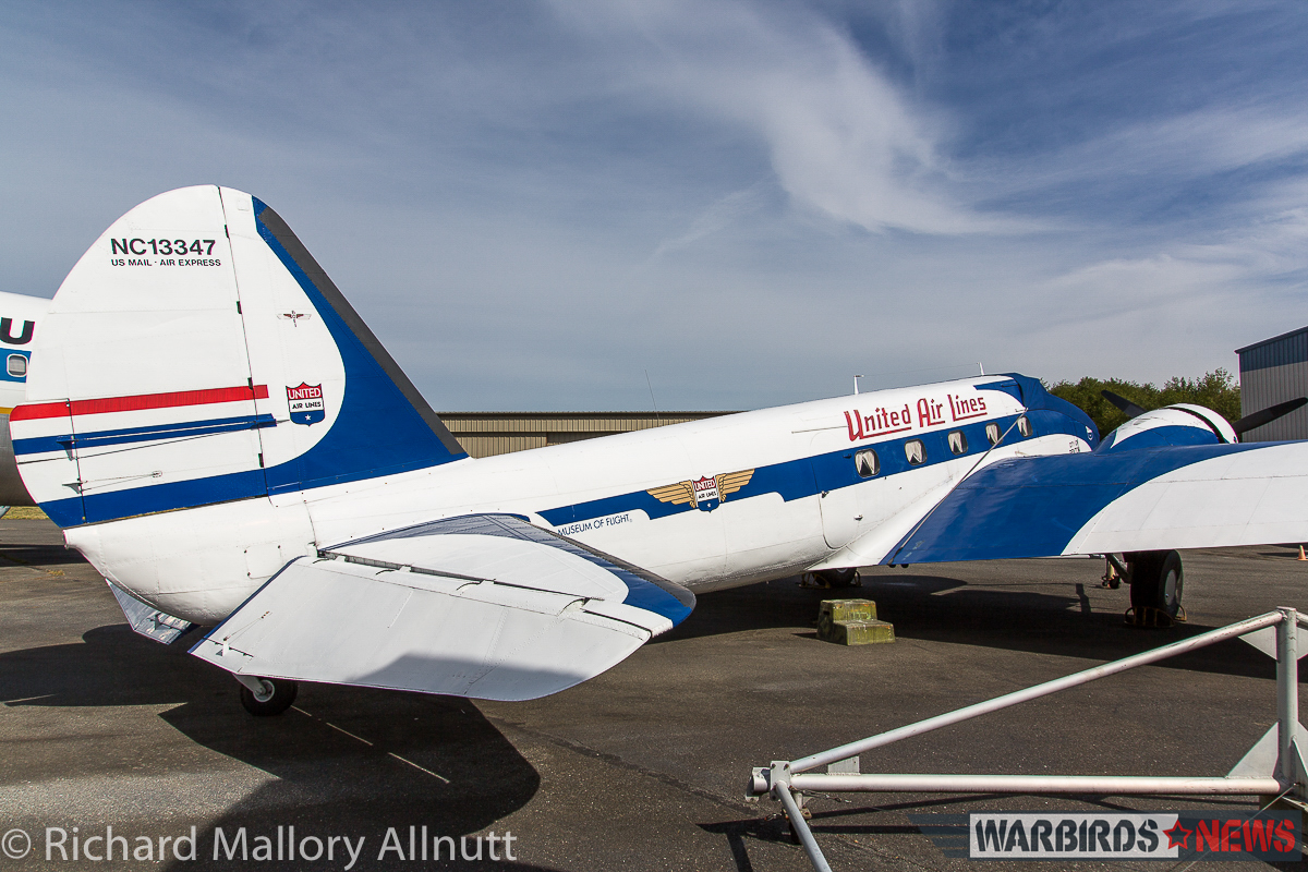 The Museum of Flight's Boeing 247D seen here in here old United Airlines livery at Paine Field in August, 2015. (photo by Richard Mallory Allnutt)
