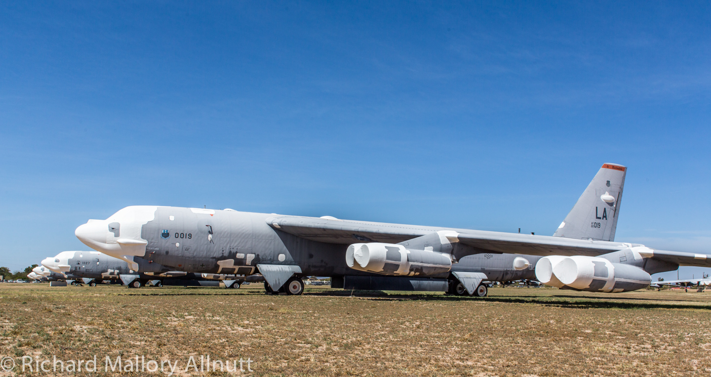 Some of the thirteen B-52Hs in 1000-level storage at AMARG during March, 2014. (photo by Richard Mallory Allnutt)