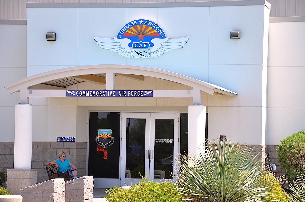 The main entrance of the Arizona Airbase in Mesa,AZ.
