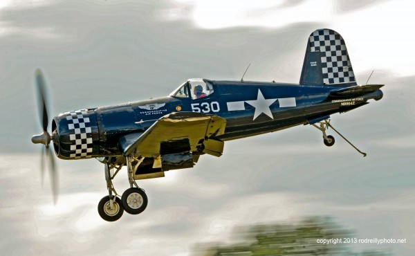 CAF Corsair on Final Approach - The Commemorative Air Force (CAF) Dixie Wing will display several World War II-era aircraft at the 57th Fighter Group Restaurant located at Peachtree-Dekalb Airport, Saturday Dec 7th, 11am-4pm .  The WWII flying musem, based in Peachtree City, GA, will be the featured guest organization of the Aero Club of Metropolitan Atlanta's December meeting. (Photo Credit Rod Reilly)