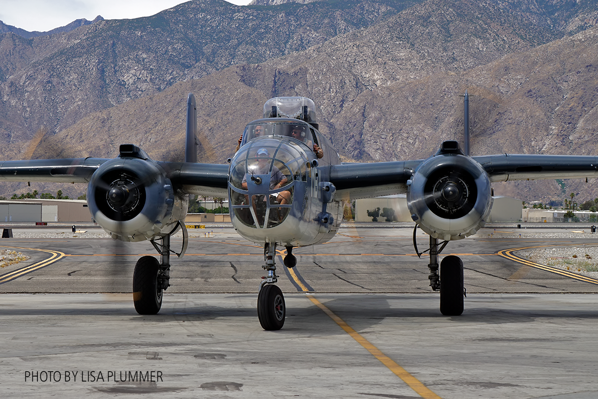 CAF SoCal Wings PBJ B-25 returning from living history demonstration flight. ( Photo by Lisa Plummer)