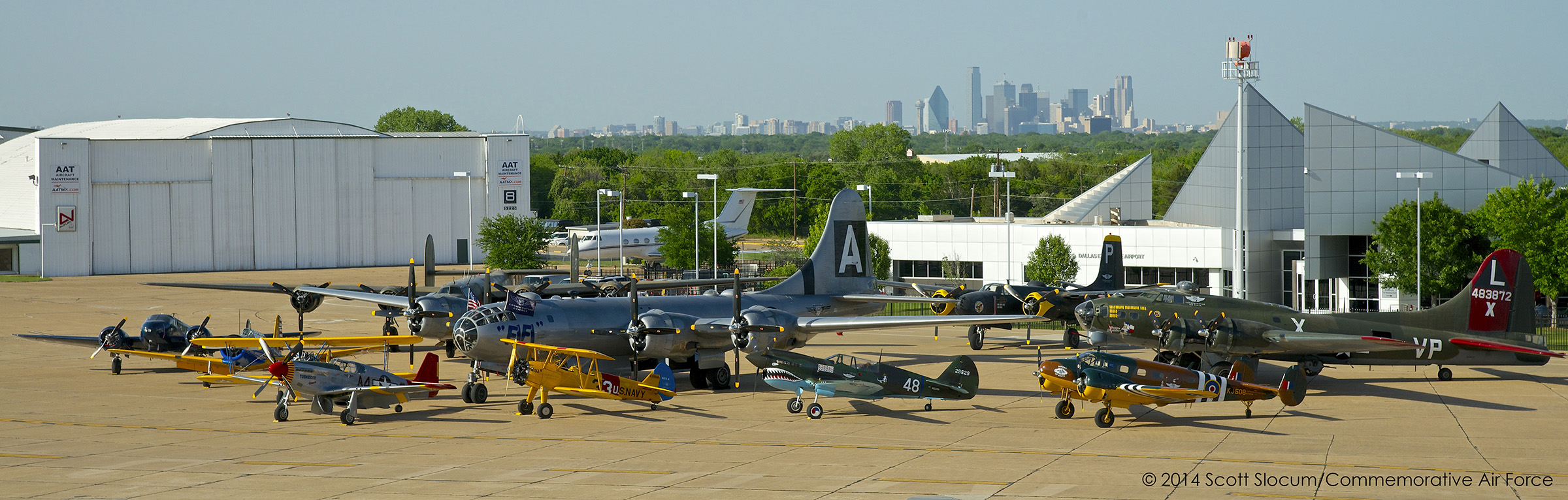 Several of the CAF aircraft at the National Air Base unveiling ceremony on Dallas Executive Airport (photo by Scott Slocum via CAF)