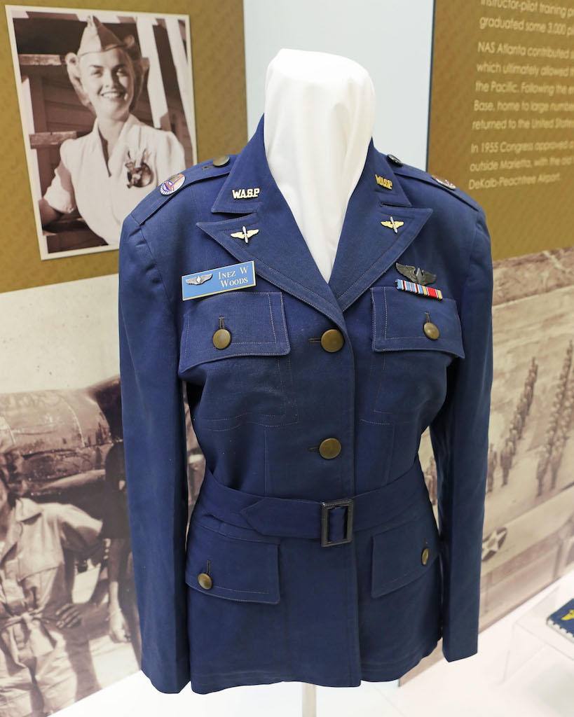 WASP Jacket belonging to Inez W. Woods. Trained in WASP Class 43-W-4 Woods was assigned to Romulus Michigan as part of the Third Ferry Group. She transported hundreds of aircraft from the factories where they were constructed to the stateside bases where they were used to train servicemen who were going overseas.