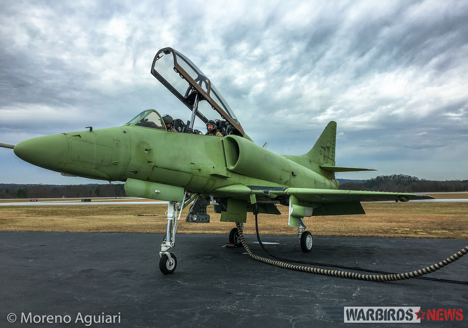 Combat Fighters of Americas TA-4J Skyhawk in her green primer prior to a flight in May, 2016. (photo by Moreno Aguiari)