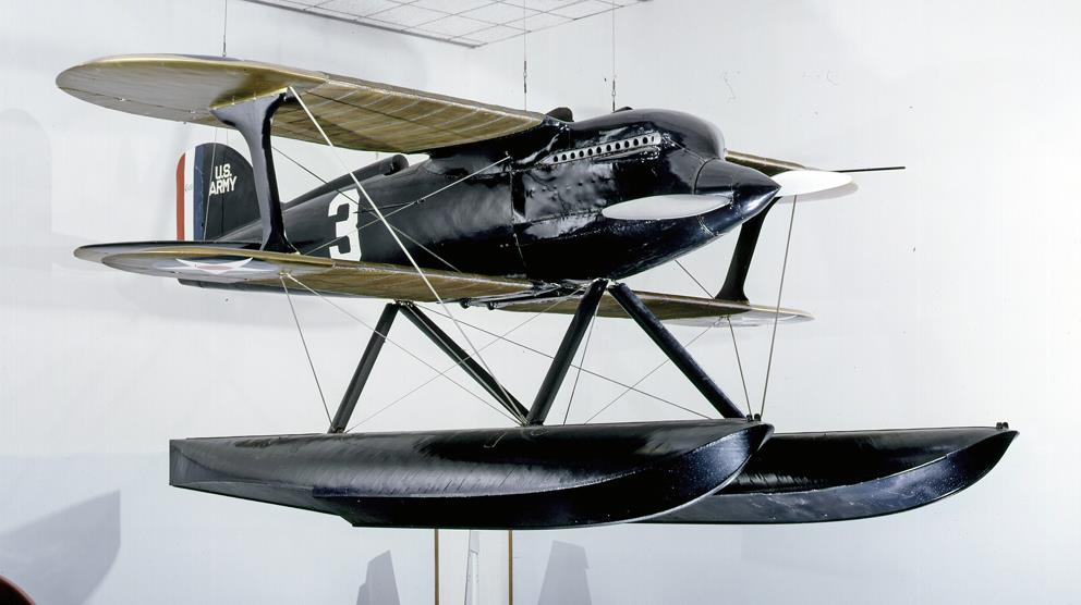 The Curtiss R3C-2 Racer on display in the Pioneers of Flight gallery at the National Mall building. Image Number: 97-16073 Credit: Photo by Eric Long, National Air and Space Museum, Smithsonian Institution