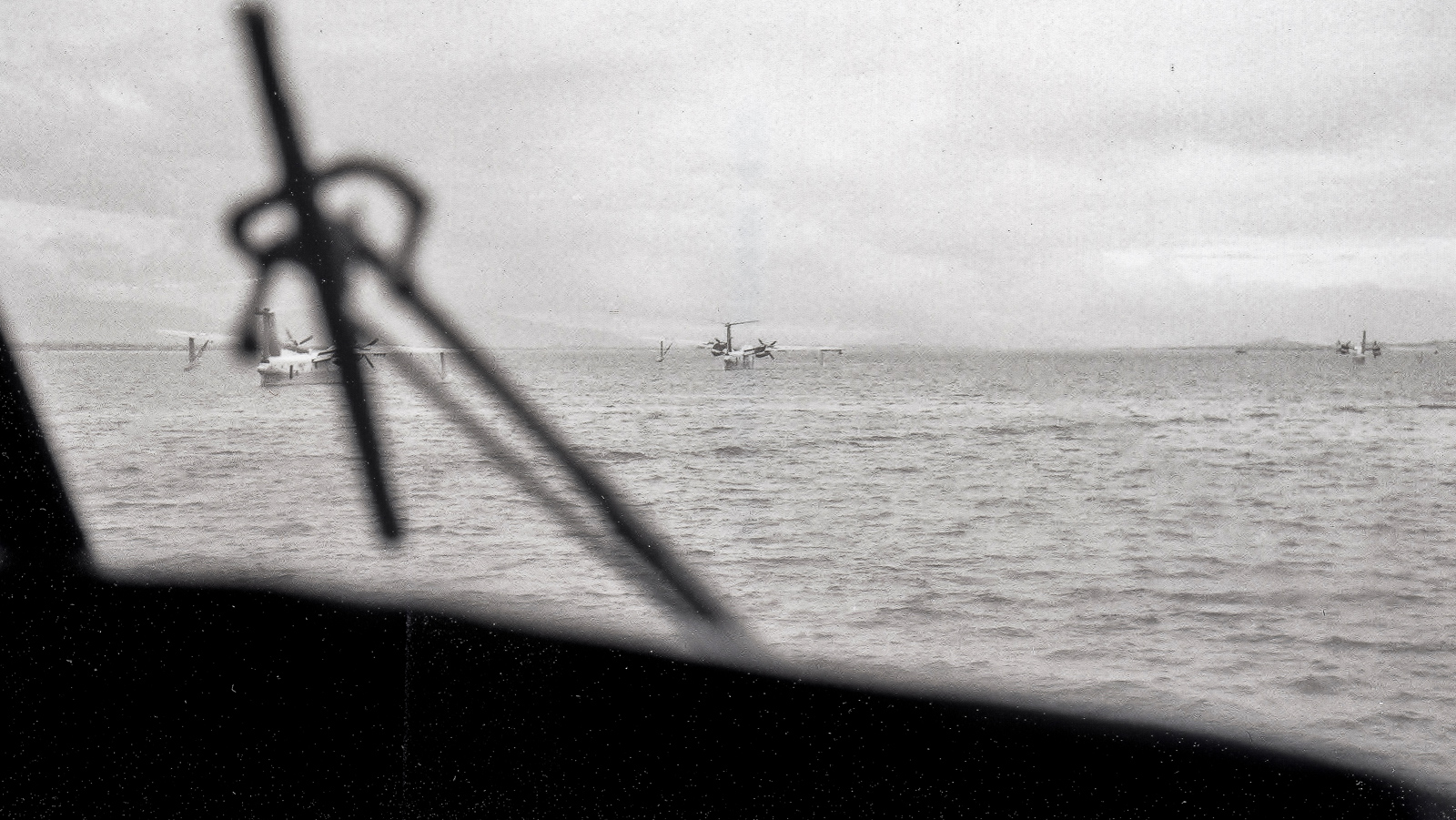 Marlins at anchor in Cam Ranh Bay as seen through the windshield of another SP-5B. (photo by Raymond T. West)