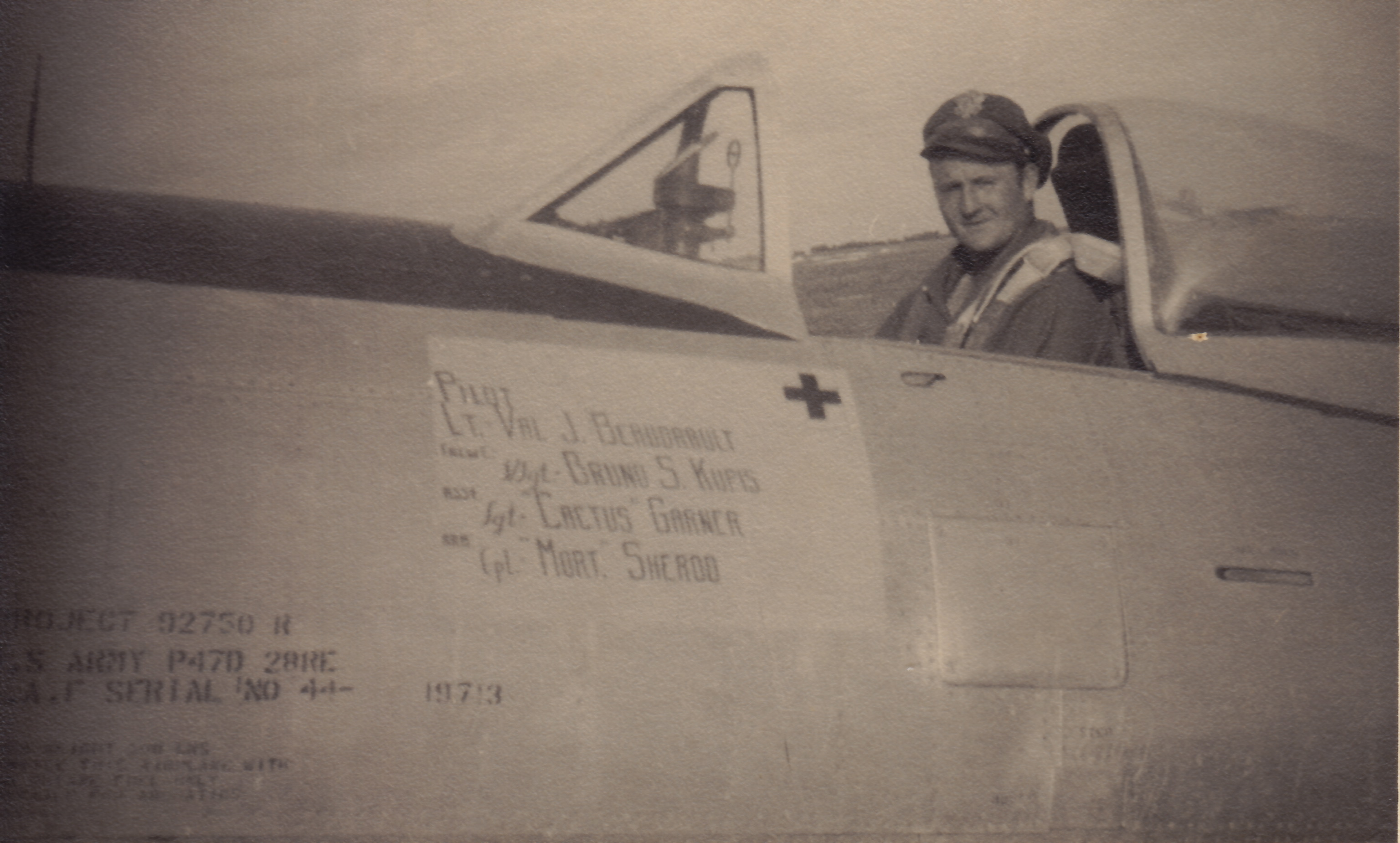 Capt Beaudrault in the cockpit of his P-47D ( Photo by Priscilla-Beaudrault's collection via Stephen Chapis).jpg