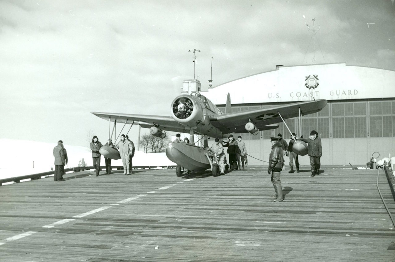 Chance Vought O2U-3 on the seaplane ramp at Air Station Salem. ( Image via U.S. Coast Guard Aviation History Archives)