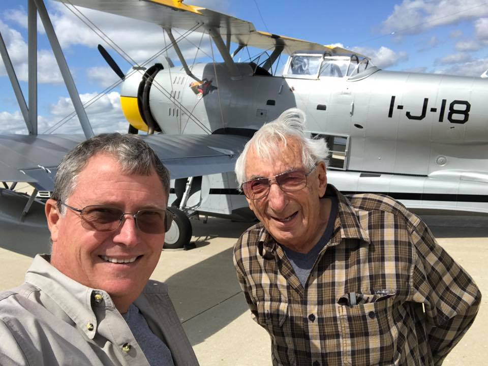 Chuck Greenhill (right) and Scott Glover stand beside the Grumman Duck in Kenosha, Wisconsin prior to her departure for the Mid American Flight Museum in Texas. (photo via Scott Glover)