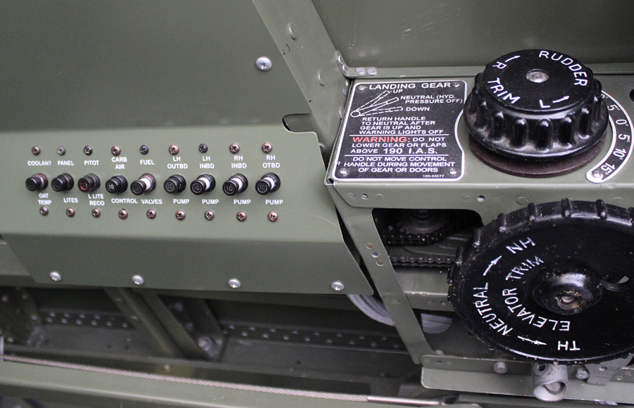 The co-pilot's circuit breaker panel. (Photo via Tom Reilly)