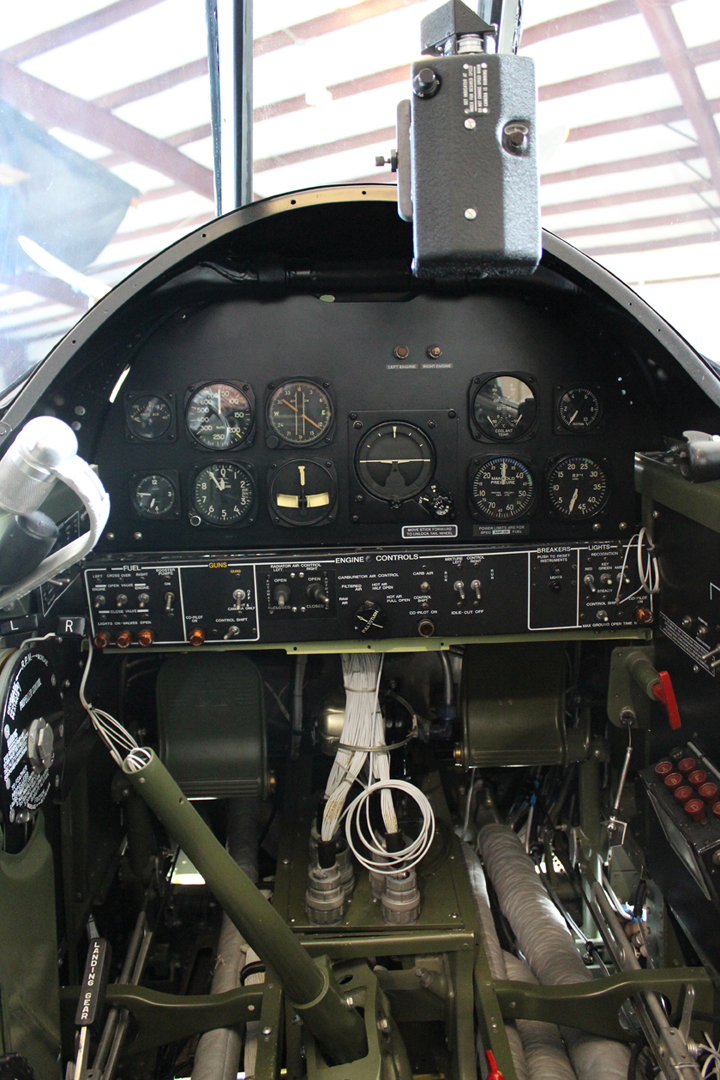 Co-pilot's instrument panel installed. Note gun strike camera mounted. (photo via Tom Reilly)