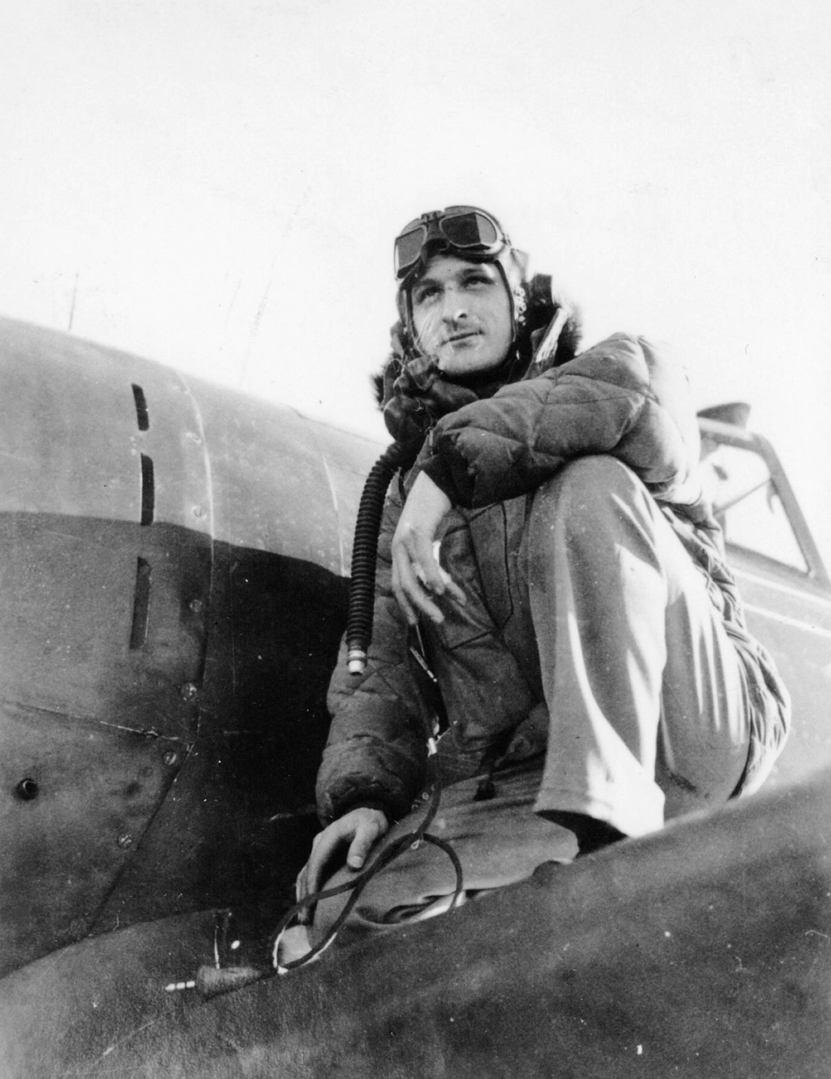 On August 16, 1944, Col. John B. Murphy of the 370th FS/359th FG observed an Me 163 Komet setting up an attack on a B-17 straggler. Col. Murphy dove on the rocket fighter, which broke off its attack, and sent it down in flames after a few well-aimed bursts. This was the second Me 163 to fall to Allied guns and Col Murphy was awarded his fifth Distinguished Flying Cross. (photo via Janet Fogg- 359th FG Association)