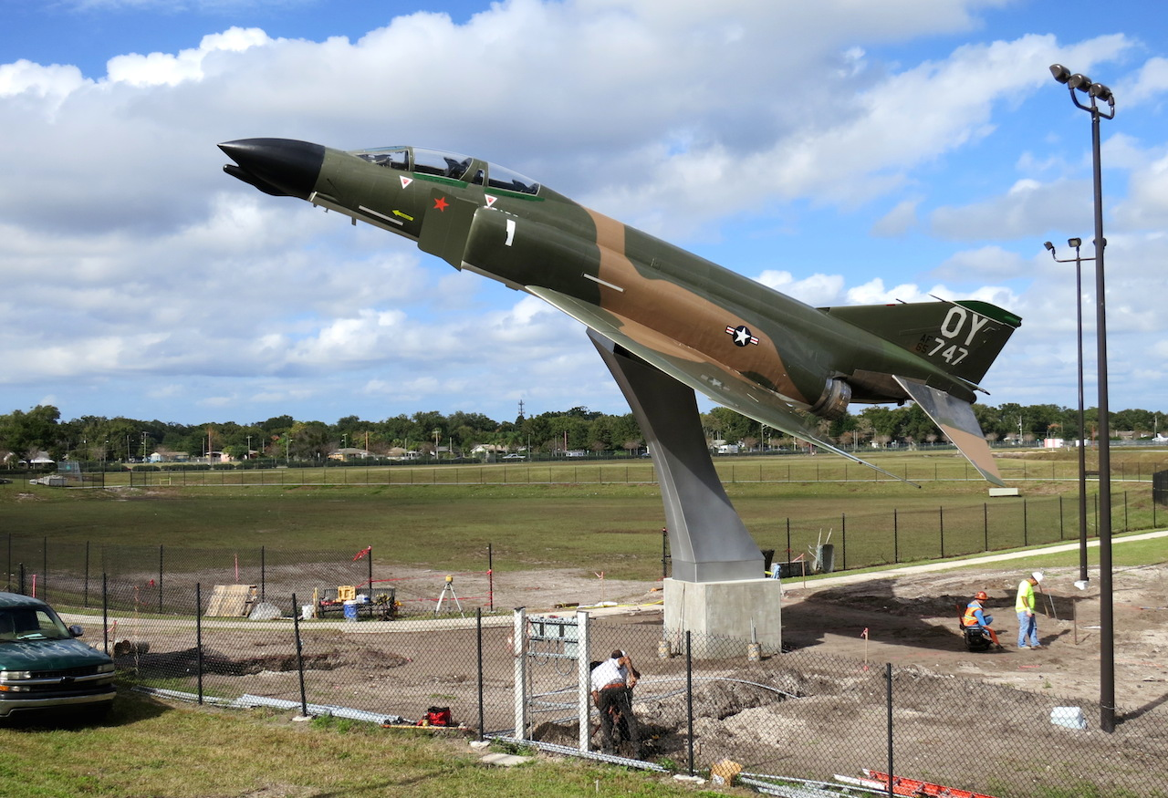 The F-4 Phantom from the Vietnam War was installed at Col. Joe Kittinger Park at 305 S Crystal Lake Dr at the Orlando Executive Airport.